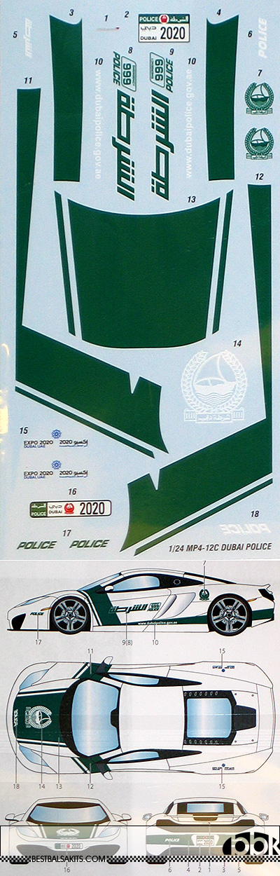 STUDIO 27 1/24 1/24 McLAREN MP4-12C DUBAI POLICE DECAL for FUJIMI