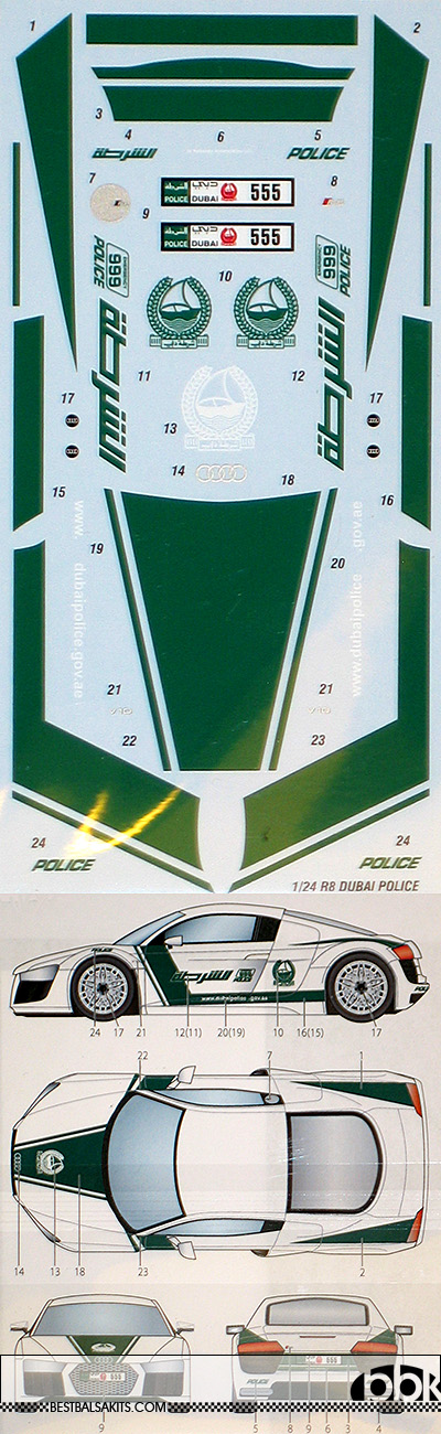 STUDIO 27 1/24 1/24 AUDI R8 DUBAI POLICE DECAL for REVELL