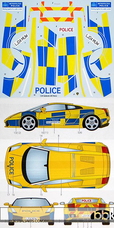 STUDIO 27 1/24 LAMBORGHINI GALLARDO UK POLICE DECAL