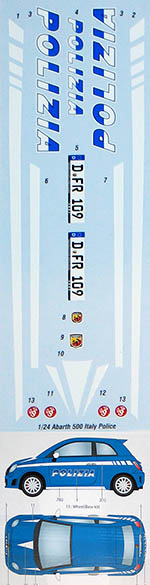 STUDIO 27 1/24 FIAT ABARTH 500 ITALY POLICE DECAL