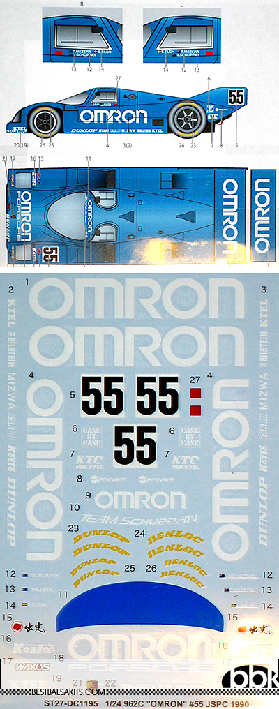 STUDIO 27 1/24 PORSCHE 962C OMRON #55 JSPC 1990 DECAL
