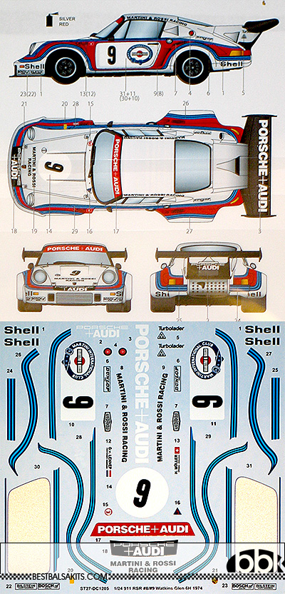 STUDIO 27 1/24 PORSCHE 911 CARRERA RSR TURBO #9 WATKINS GLEN 1974