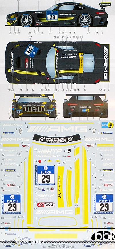 STUDIO 27 1/24 MERCEDES AMG GT3 #29 NURBURGRING 24h 2016