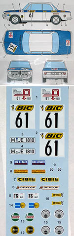 STUDIO 27 1/24 BMW 2002 TI TOUR DE FRANCE 1971 HASEGAWA