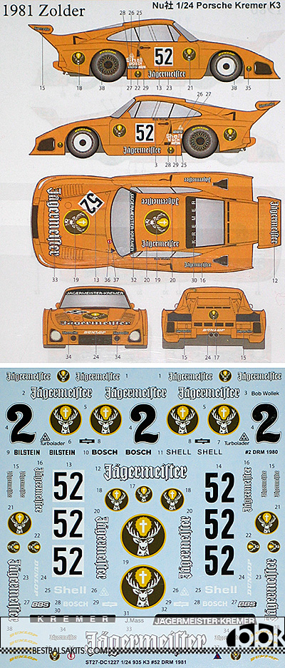 Decals Porsche 935 K3 Hockenheim 1981 1:32 43 24 18 Jagermeister Wollek calcas