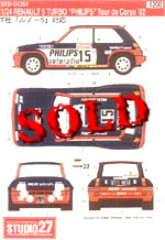 STUDIO 27 1/24 RENAULT R5 TURBO 'PHILIPS' 1982 TOUR DE CORSE