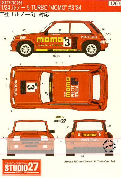 STUDIO 27 1/24 RENAULT R5 TURBO 'MOMO' #3 1984 R5 TURBO CUP