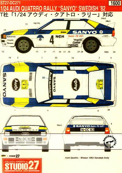 STUDIO 27 1/24 AUDI QUATTRO 'SANYO' 1982 SWEDISH RALLY WINNER