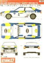 STUDIO 27 1/24 AUDI QUATTRO 'SANYO' 1982 SWEDISH RALLY WINNER