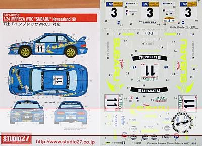 STUDIO 27 1/24 WRC SUBARU NZ 99 DECAL TAMIYA 1/24 SUBARU IMPREZA