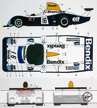 STUDIO 27 1/24 BENDIX DECAL LM 77 for TAMIYA 1/24 RENAULT A442