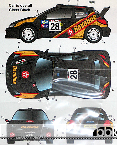 STUDIO 27 1/24 PEUGEOT 206 WRC HAVOLINE PORTUGAL 2001