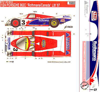 STUDIO 27 1/24 PORSCHE 962C ROTHMANS/CANADA Le Mans 1987