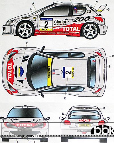 STUDIO 27 1/24 PEUGEOT 206 WRC #2 #16 CATALUNYA SWEDISH RALLY '01