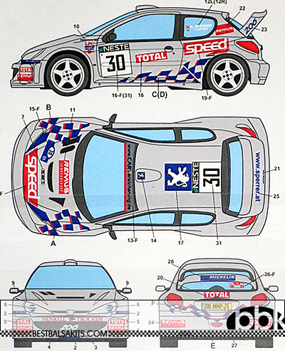 STUDIO 27 1/24 PEUGEOT 206 WRC #1 #30 SPEED RALLY FINLAND 2001