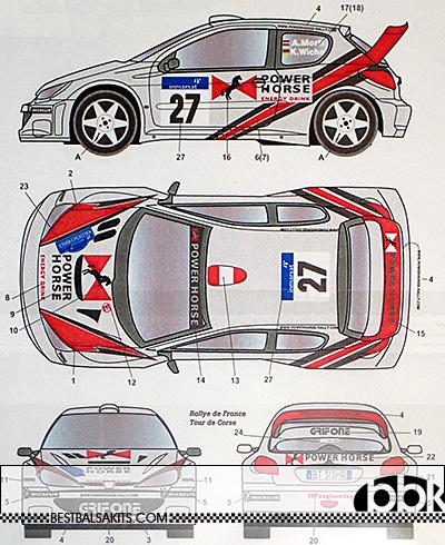 STUDIO 27 1/24 206 WRC #26 #27 POWER HORSE CATALUNYA CORSE 2002