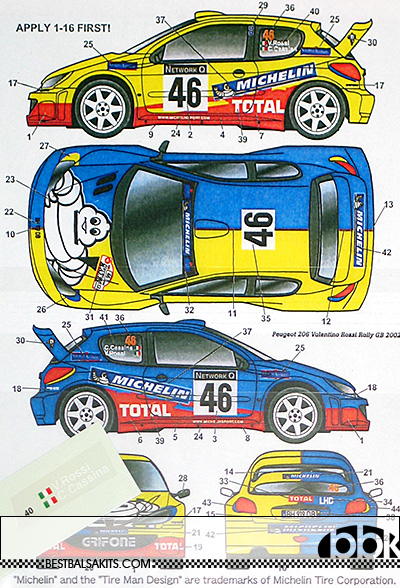 STUDIO 27 1/24 PEUGEOT 206 WRC #46 MICHELIN GB 2002 RALLY DECAL
