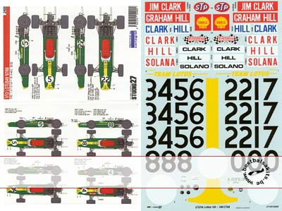 STUDIO 27 1/12 LOTUS 49 HILL CLARK SOLANA DECAL for TAMIYA 1/12