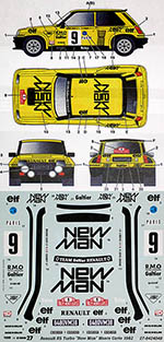 STUDIO 27 1/24 RENAULT R5 NEW MAN MONTE CARLO 1982 for TAMIYA