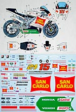 STUDIO 27 1/12 ST27 DECAL RC212V #24 #15 SAN CARLO 09 TAMIYA 1/12