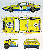 STUDIO 27 1/24 LM 1975 #7 DECAL SET FUJIMI 1/24 DE TOMASO PANTER