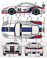 STUDIO 27 1/24 PORSCHE CAYMAN MARTINI #44 DECAL
