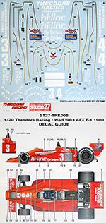 STUDIO 27 1/20 WOLF WR3 THEODORE RACING AFX F-1 1980