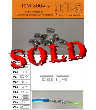 T2M 1/12-24 1.2 mm TAPERED HEX FITTING ALU 10pc