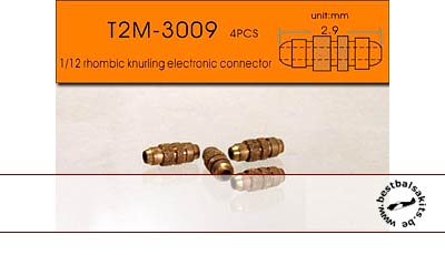 T2M NA 1.0mm KNURLED ELEC CONNECTORS BRASS 4pc