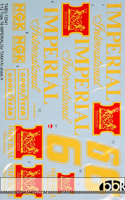 TABU DESIGN 1/12 IMPERIAL CONV DECAL for TAMIYA 1/12 LOTUS 78 MKIII