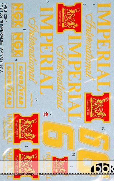 TABU DESIGN 1/12 IMPERIAL CONV DECAL for TAMIYA 1/12 LOTUS 78 MKIII