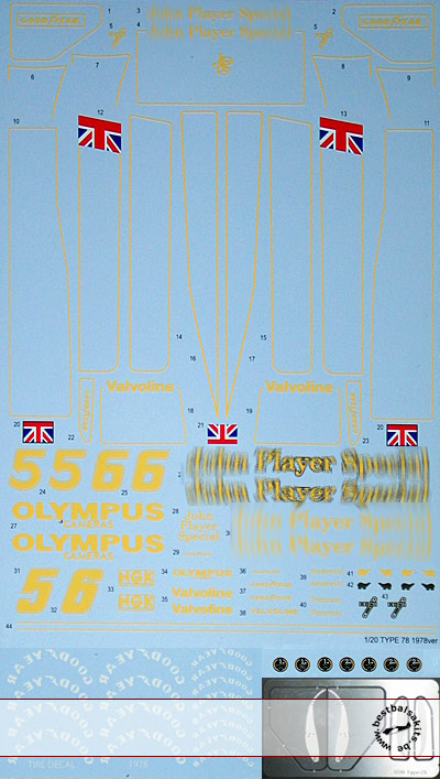 TABU DESIGN 1/20 FULL SPONSOR DECAL + PE WINGS TAMIYA 1/20 LOTUS 78