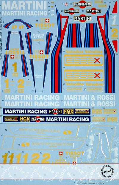 TABU DESIGN 1/20 MARTINI ESSEX SPONSOR DECAL for TAMIYA LOTUS 79