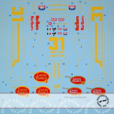 TABU DESIGN 1/20 FULL SPONSOR DECAL for TAMIYA LOTUS 79 REBAQUE