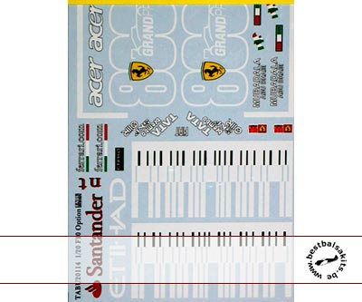 TABU DESIGN 1/20 FILL IN DECAL for FUJIMI 1/20 FERRARI F10 800th GP
