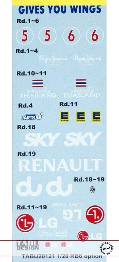 TABU DESIGN 1/20 OPTION DECAL for TAMIYA 1/20 RB6 RED BULL