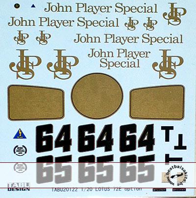 TABU DESIGN 1/20 FILL IN DECAL for EBBRO 1/20 LOTUS 72E