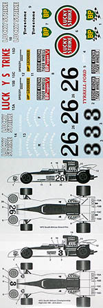 TABU DESIGN 1/20 LUCK Y STRIK E TYRRELL 004 SOUTH AFRICA 1973