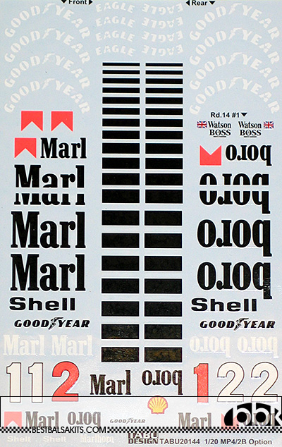 TABU DESIGN 1/20 McLAREN MP4/2B OPTION DECAL for AOSHIMA BEEMAX