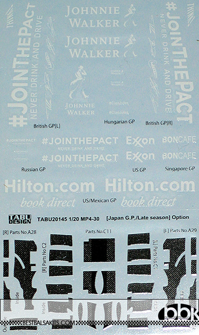 TABU DESIGN 1/20 McLAREN MP4/30 JAPAN GP DECAL & CARBON DETAIL