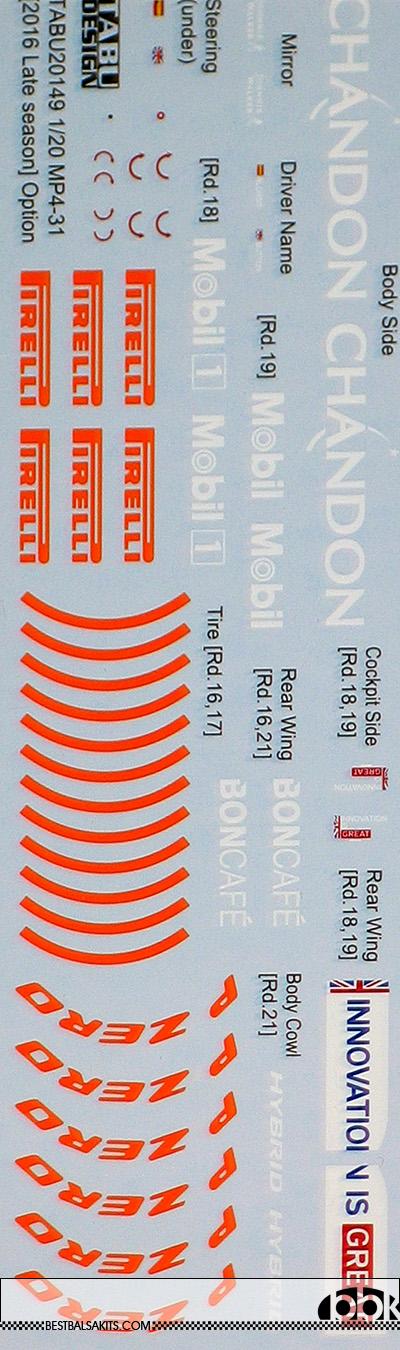 TABU DESIGN 1/20 McLAREN MP4-31 '16 LATE SEASON FILL IN EBBRO 20020