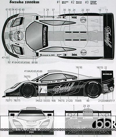 TABU DESIGN 1/24 FULL SPONSOR McLAREN F1-GTR Gulf #1 2 3 FIA-GT '97