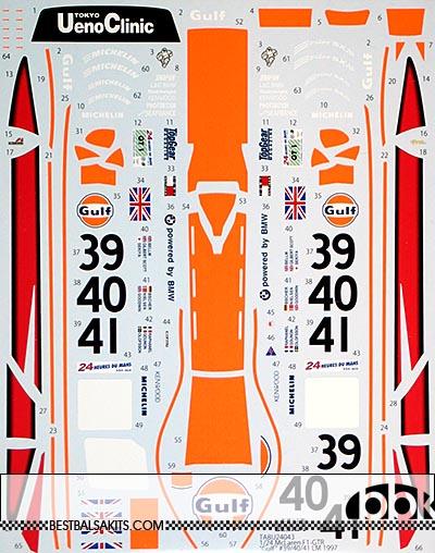 TABU DESIGN 1/24 McLAREN F1-GTR GULF #39 #40 #41 LE MANS 1997