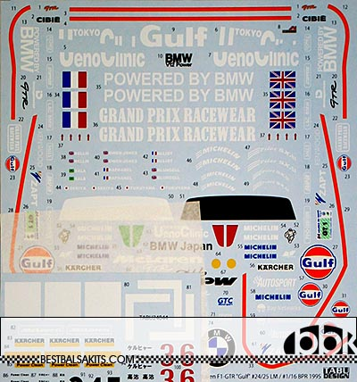 TABU DESIGN 1/24 McLAREN F1-GTR GULF #24 #25 LE MANS #1 #16 BPR '95
