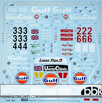 TABU DESIGN 1/24 McLAREN F1-GTR GULF #33/34 LE MANS #2/6 SUZUKA 96