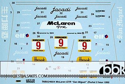 TABU DESIGN 1/24 McLAREN F1-GTR #9 SAN MIGUEL ZHUHAI 3Hrs 1995