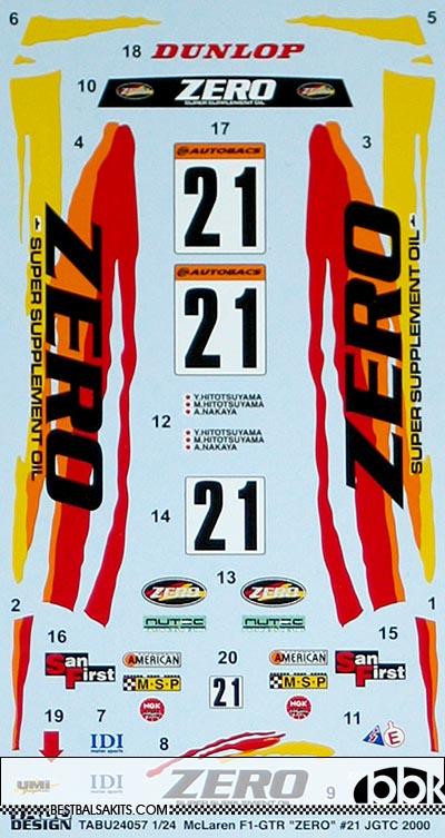 TABU DESIGN 1/24 FULL SPONSOR DECAL McLAREN ZERO #21 JGTC 2000