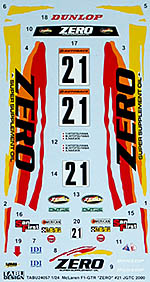 TABU DESIGN 1/24 FULL SPONSOR DECAL McLAREN ZERO #21 JGTC 2000