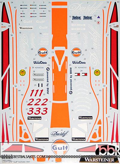TABU DESIGN 1/24 McLAREN F1-GTR GULF #1 #2 #3 SUZUKA 1997 for AOSHI