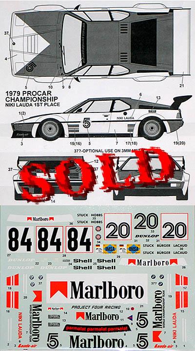 TABU DESIGN 1/24 BMW M1 '79-'80 1/24 MARLOBORO CIGARETTE DECAL